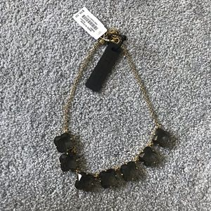 J. Crew Gray/clear gem necklace w/ gold accents
